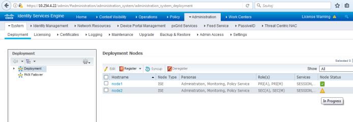 Cisco ISE registration node in progress