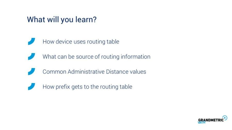 Routing Table What Will You Learn