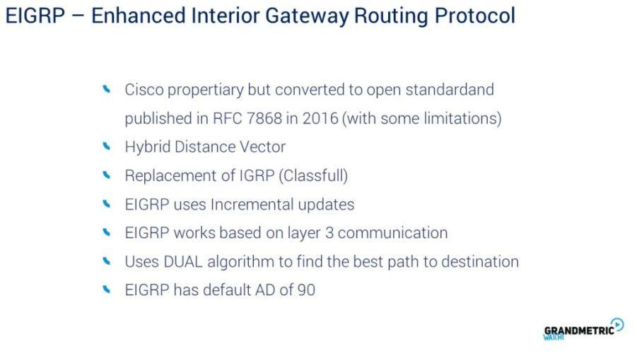 EIGRP Enhanced Interior Gateway Routing Protocol