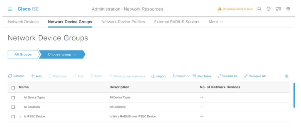 Network Device Groups Cisco ISE