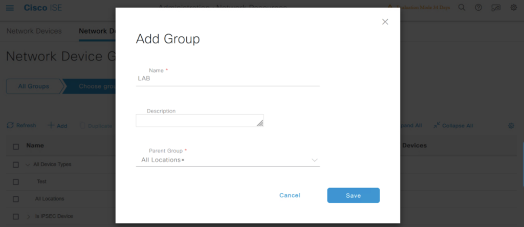 Device Location Group modal