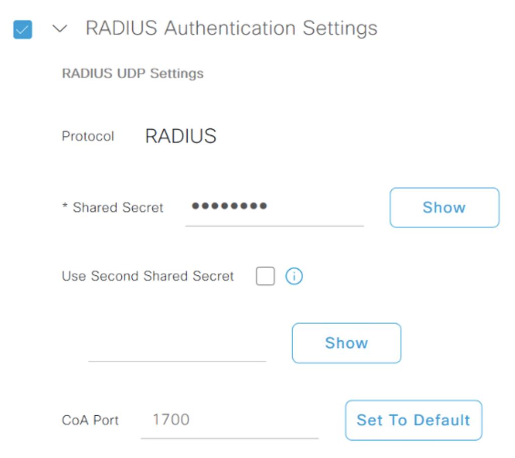 Radius authentication settings